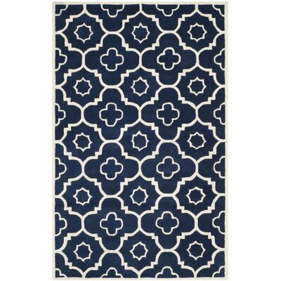 Wilkin Dark Blue / Ivory Moroccan Rug Rug Size: Rectangle 5' x 8'