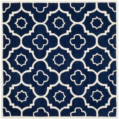 Wilkin Dark Blue / Ivory Moroccan Rug Rug Size: Square 5