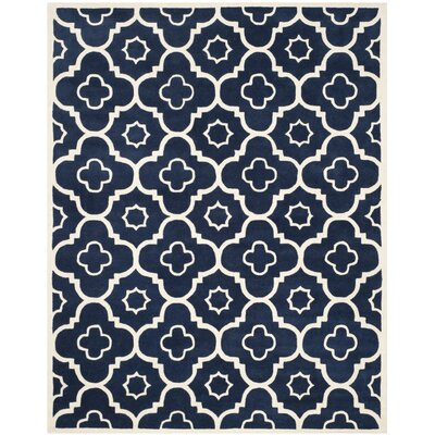 Wilkin Dark Blue / Ivory Moroccan Rug Rug Size: Rectangle 8' x 10'