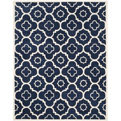 Wilkin Dark Blue / Ivory Moroccan Rug Rug Size: 8 x 10