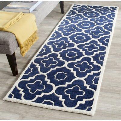 Wilkin Dark Blue / Ivory Moroccan Rug Rug Size: Runner 23 x 11