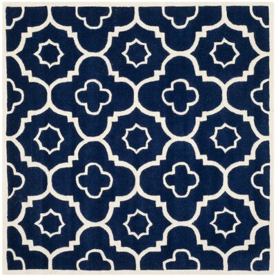 Wilkin Dark Blue / Ivory Moroccan Rug Rug Size: Square 3
