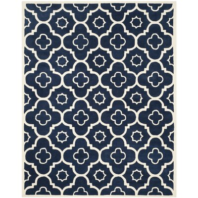 Wilkin Dark Blue / Ivory Moroccan Rug Rug Size: Rectangle 89 x 12