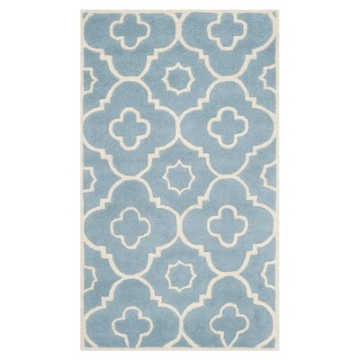 Wilkin Moroccan Hand-Tufted Wool Blue/Ivory Area Rug Rug Size: Rectangle 5' x 8'