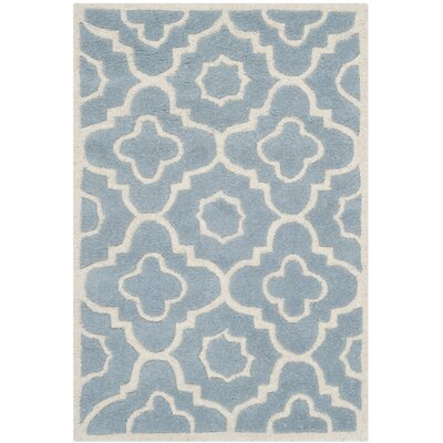 Wilkin Moroccan Hand-Tufted Wool Blue/Ivory Area Rug Rug Size: Rectangle 2 x 3