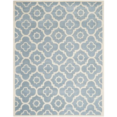 Wilkin Moroccan Hand-Tufted Wool Blue/Ivory Area Rug Rug Size: Rectangle 8 x 10