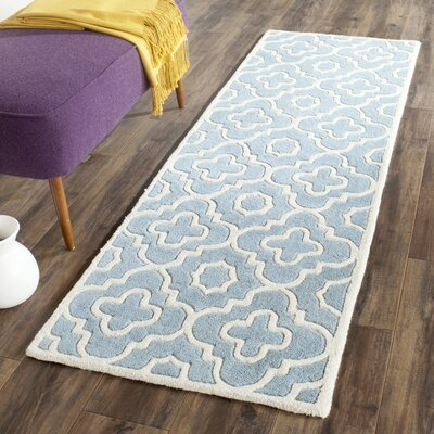 Wilkin Moroccan Hand-Tufted Wool Blue/Ivory Area Rug Rug Size: Runner 23 x 7