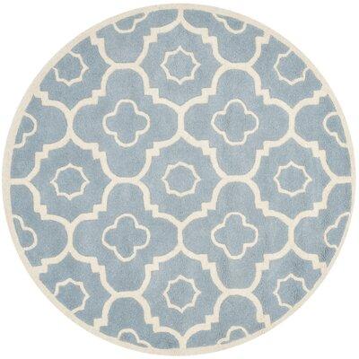 Wilkin Blue / Ivory Moroccan Rug Rug Size: Round 5