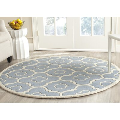 Wilkin Moroccan Hand-Tufted Wool Blue/Ivory Area Rug Rug Size: Round 5