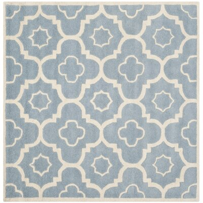 Wilkin Moroccan Hand-Tufted Wool Blue/Ivory Area Rug Rug Size: Square 5'