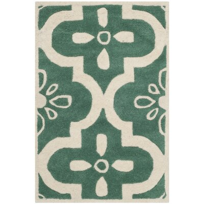 Wilkin Moroccan Hand-Tufted Wool Tea/Ivory Area Rug Rug Size: Rectangle 2' x 3'