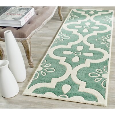 Wilkin Teal / Ivory Moroccan Rug Rug Size: Runner 23 x 7