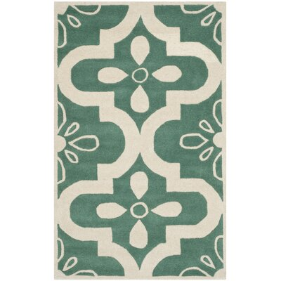 Wilkin Teal / Ivory Moroccan Rug Rug Size: 3 x 5
