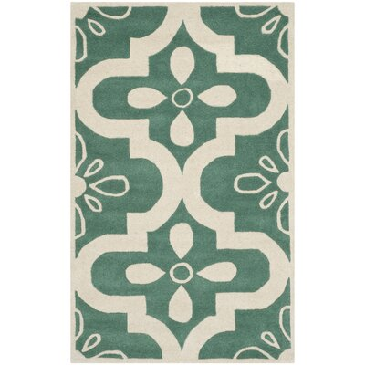 Wilkin Teal / Ivory Moroccan Rug Rug Size: 4 x 6