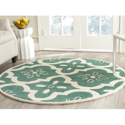 Wilkin Moroccan Hand-Tufted Wool Tea/Ivory Area Rug Rug Size: Round 5