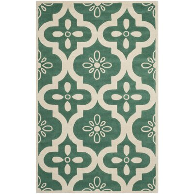Wilkin Teal / Ivory Moroccan Rug Rug Size: 6 x 9