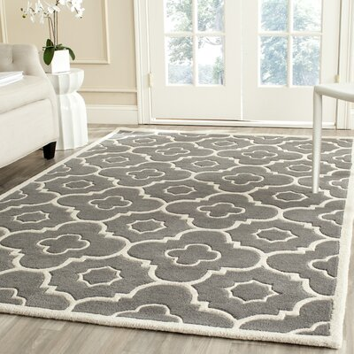 Wilkin Moroccan Hand-Tufted Wool Dark Gray/Ivory Area Rug Rug Size: Rectangle 5' x 8'