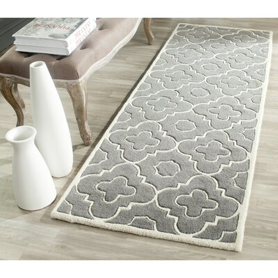 Wilkin Moroccan Hand-Tufted Wool Dark Gray/Ivory Area Rug Rug Size: Runner 23 x 5