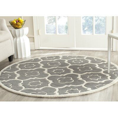 Wilkin Moroccan Hand-Tufted Wool Dark Gray/Ivory Area Rug Rug Size: Round 5