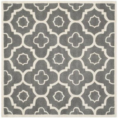 Wilkin Moroccan Hand-Tufted Wool Dark Gray/Ivory Area Rug Rug Size: Square 5