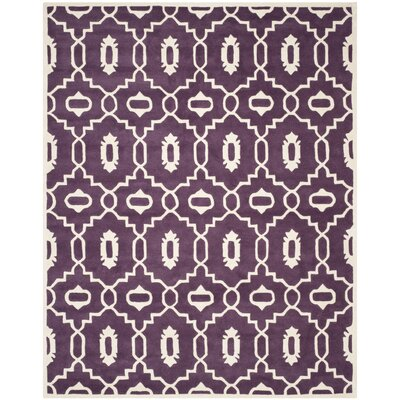 Wilkin Moroccan Hand-Tufted Wool Purple/Ivory Area Rug Rug Size: Rectangle 6 x 9