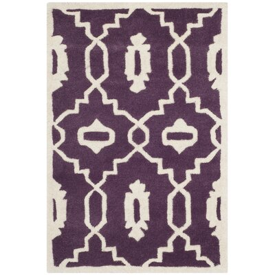 Wilkin Moroccan Hand-Tufted Wool Purple/Ivory Area Rug Rug Size: Rectangle 2 x 3