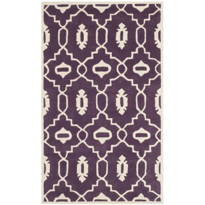 Wilkin Moroccan Hand-Tufted Wool Purple/Ivory Area Rug Rug Size: Rectangle 3 x 5