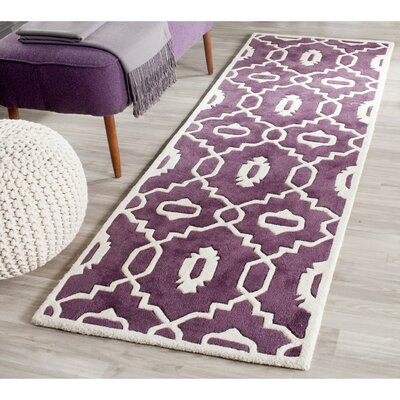 Wilkin Moroccan Hand-Tufted Wool Purple/Ivory Area Rug Rug Size: Runner 23 x 7