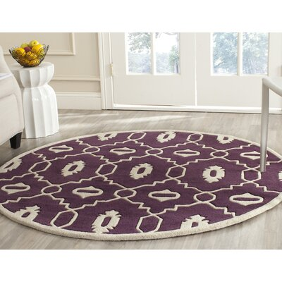 Wilkin Moroccan Hand-Tufted Wool Purple/Ivory Area Rug Rug Size: Round 5