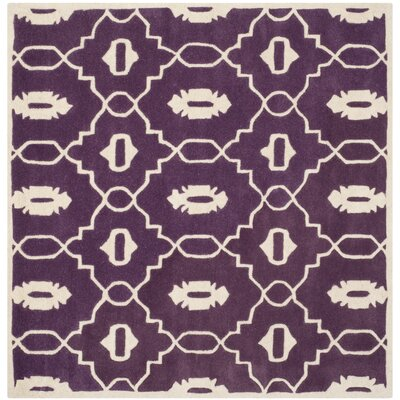 Wilkin Moroccan Hand-Tufted Wool Purple/Ivory Area Rug Rug Size: Square 5