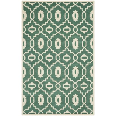 Wilkin Moroccan Hand-Tufted Wool Dark Green/Ivory Area Rug Rug Size: Rectangle 6 x 9