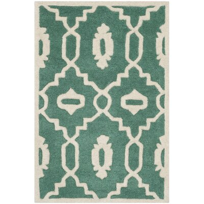 Wilkin Moroccan Hand-Tufted Wool Dark Green/Ivory Area Rug Rug Size: Rectangle 2' x 3'