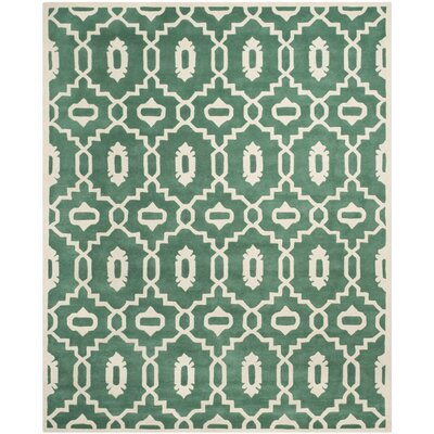 Wilkin Moroccan Hand-Tufted Wool Dark Green/Ivory Area Rug Rug Size: Rectangle 8 x 10