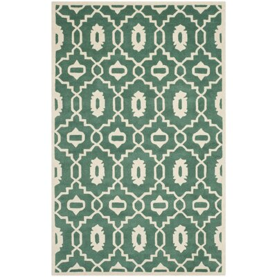 Wilkin Moroccan Hand-Tufted Wool Dark Green/Ivory Area Rug Rug Size: Rectangle 5 x 8