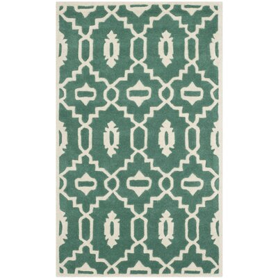 Wilkin Moroccan Hand-Tufted Wool Dark Green/Ivory Area Rug Rug Size: Rectangle 3 x 5