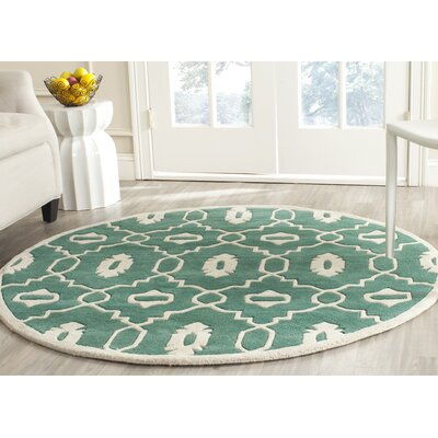 Wilkin Teal/Ivory Moroccan Area Rug Rug Size: Round 5