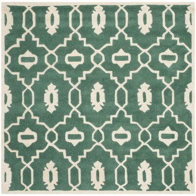 Wilkin Moroccan Hand-Tufted Wool Dark Green/Ivory Area Rug Rug Size: Square 5