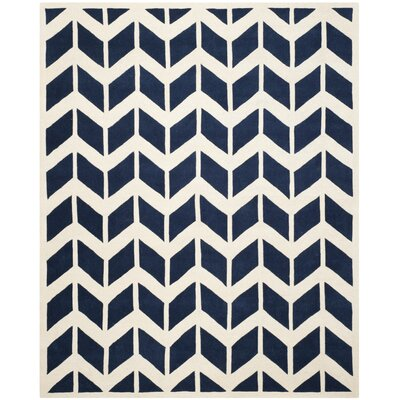 Wilkin Hand-Tufted Wool Dark Blue/Ivory Area Rug Rug Size: Rectangle 8 x 10