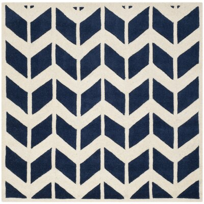 Wilkin Dark Blue & Ivory Area Rug Rug Size: Square 5