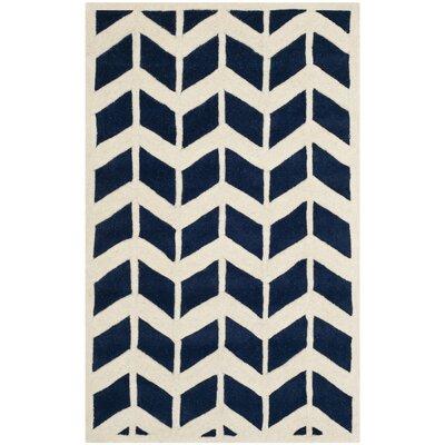 Wilkin Dark Blue & Ivory Area Rug Rug Size: 6 x 9
