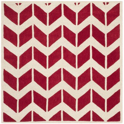 Wilkin Red / Ivory Moroccan Area Rug Rug Size: Square 5