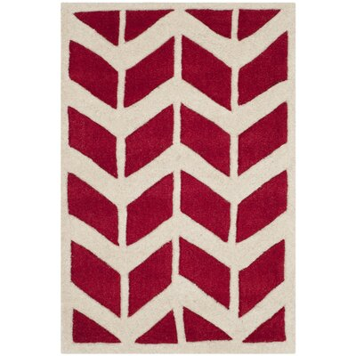 Wilkin Moroccan Hand-Tufted Wool Red/Ivory Area Rug Rug Size: Rectangle 2 x 3