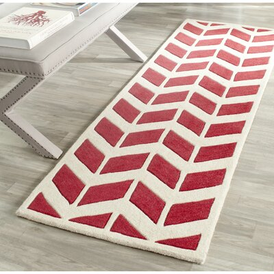 Wilkin Moroccan Hand-Tufted Wool Red/Ivory Area Rug Rug Size: Runner 23 x 7