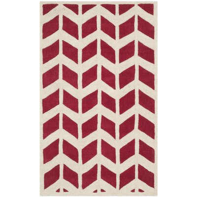 Wilkin Moroccan Hand-Tufted Wool Red/Ivory Area Rug Rug Size: Rectangle 4 x 6