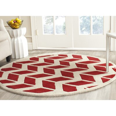 Wilkin Moroccan Hand-Tufted Wool Red/Ivory Area Rug Rug Size: Round 5