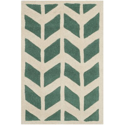 Wilkin Moroccan Hand-Tufted Wool Green/Ivory Area Rug Rug Size: Rectangle 2 x 3