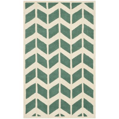 Wilkin Moroccan Hand-Tufted Wool Green/Ivory Area Rug Rug Size: Rectangle 3 x 5