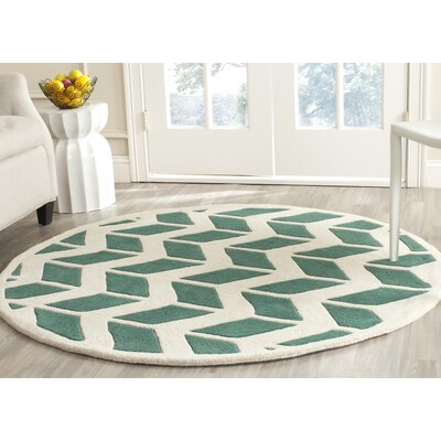 Wilkin Teal / Ivory Moroccan Area Rug Rug Size: Round 5