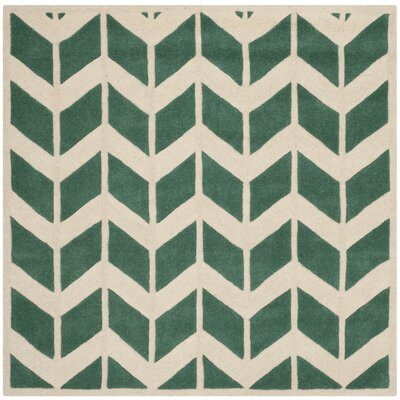 Wilkin Teal / Ivory Moroccan Area Rug Rug Size: Square 5
