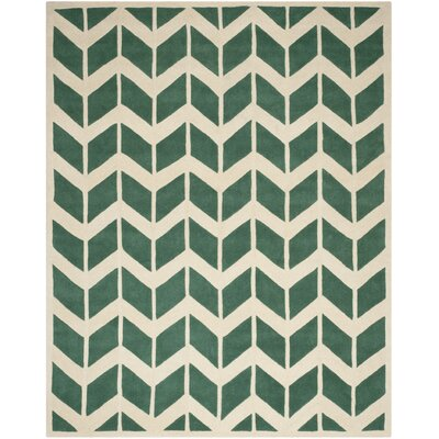 Wilkin Moroccan Hand-Tufted Wool Green/Ivory Area Rug Rug Size: Rectangle 8 x 10